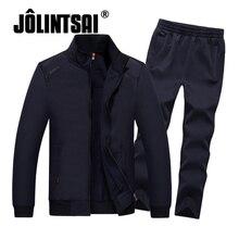 Jolintsai 2017 мужские Брендовые спортивные костюмы комплект куртка + брюки спортивные костюм плюс Размеры 4XL 5XL 6XL 7XL 8XL фитнес одежда