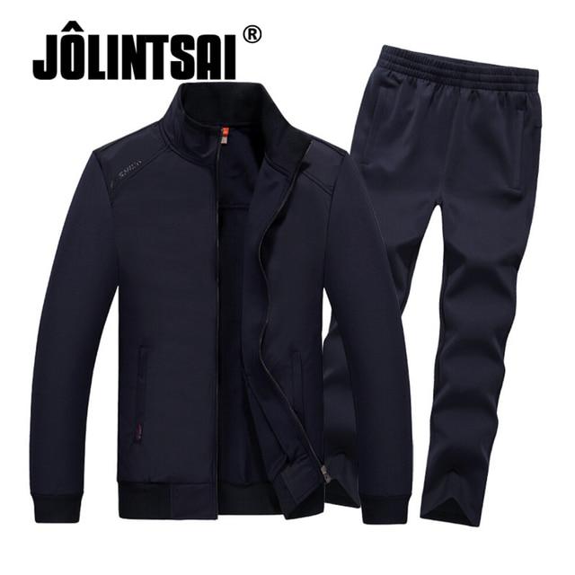 Jolintsai 2017 homens Marca Treino Conjunto Paletó + Calça Terno Esportivo  Plus Size 4XL 5XL 6XL 7645f5beb6229