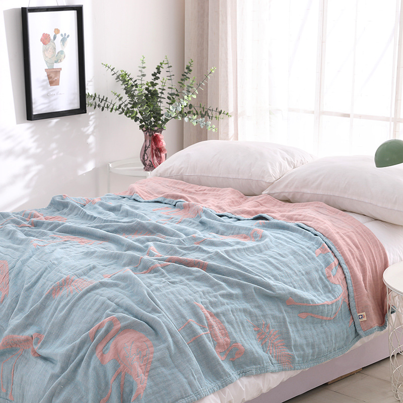 Junwell 100% coton mousseline couverture lit canapé voyage respirant rose Flamingo grande couverture douce couverture Para couverture-in Couvertures from Maison & Animalerie    1