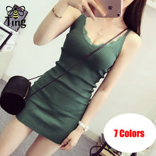 Tingfly Classic Basic Knitted Mini Dress Sexy Sheath Bodycon Summer Knitting Short Dress V neck Lace Partchwork Casual Dress(China)
