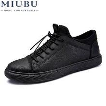 MIUBU Spring Man Casual Shoes Fashion Black PU Material Autumn Waterproof Light Free Shipping Men Sneakers