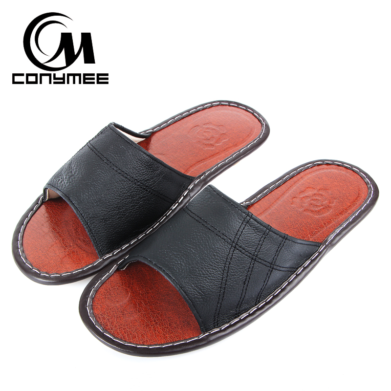 CONYMEE Summer Sandals 2018 Men Genuine Leather Beach Shoes Home Indoor Slippers Pantufas Big Size Flip Flops Mens Sneakers