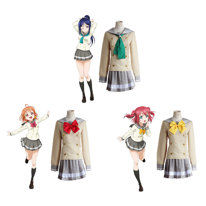 Anime LoveLive! Sunshine!! Aqours Takami Chika School Uniform Cosplay Costume Love Live Sailor Suit ( Top + Skirt + Bowknot )