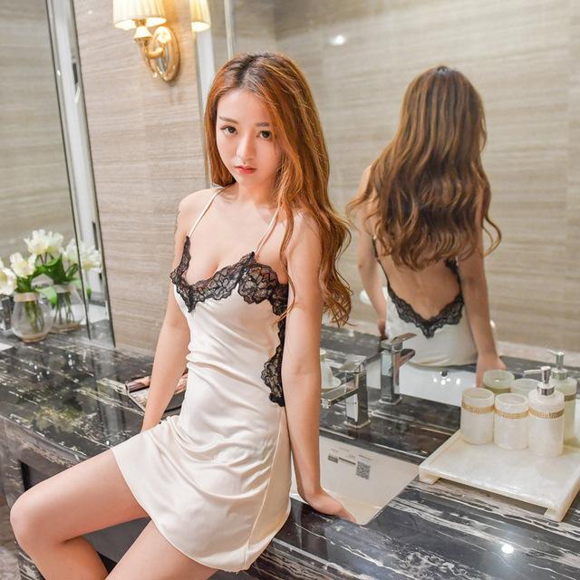 Sexy Lace Satin Sleepwear Nightdress