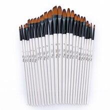 12pcs Nylon Hair Wooden Handle Watercolor Paint Brush Pen Set For Learning Diy