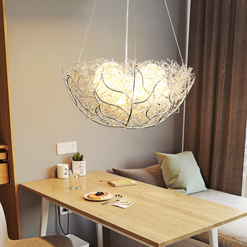 Novelty creative bird nest pendant lamp Gold/Silver Aluminum Wires Pendant lights Bar Living room Bedroom Light