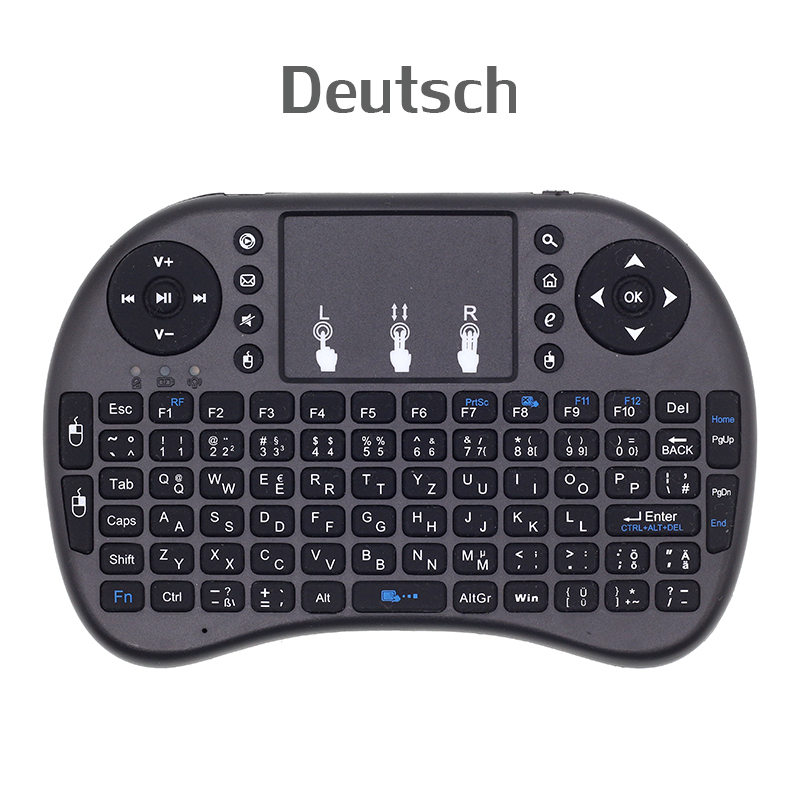 I8 English German Deutsch 2.4G Mini Wireless Keyboard Air Mouse With Touchpad For Android TV Box, Mini PC, Projectors, Laptops