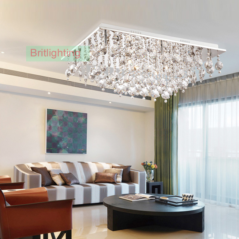Modern Crystal Ceiling Lighting Rectangle Surface Mounted