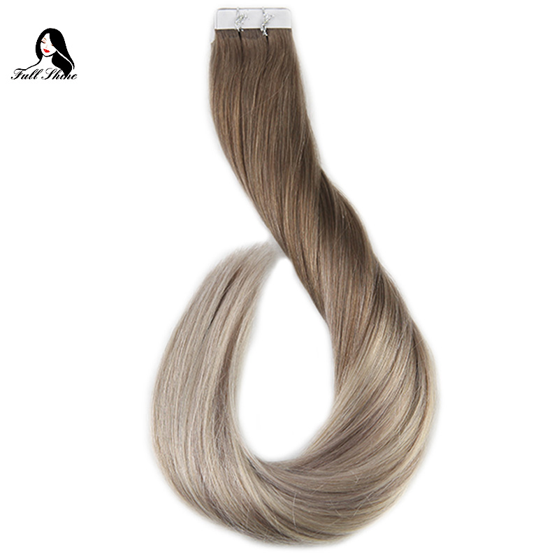 Ship From US Full Shine Human Hair Tape in Extensions Glue on Hair Balayage Color #8/60/18 50g 20 Pieces Remy Hair Extensions