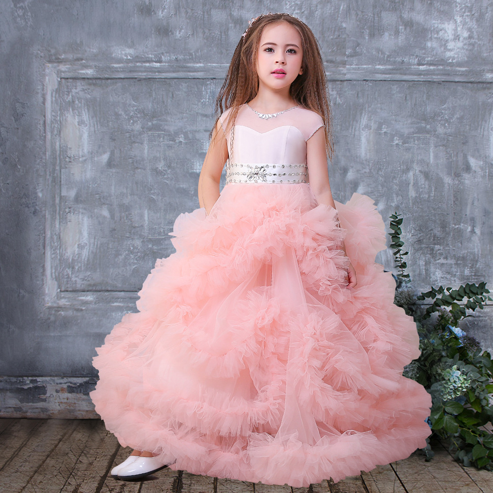 Flower Girl Cake Dress Birthday Party Wedding Princess Girls Dresses
