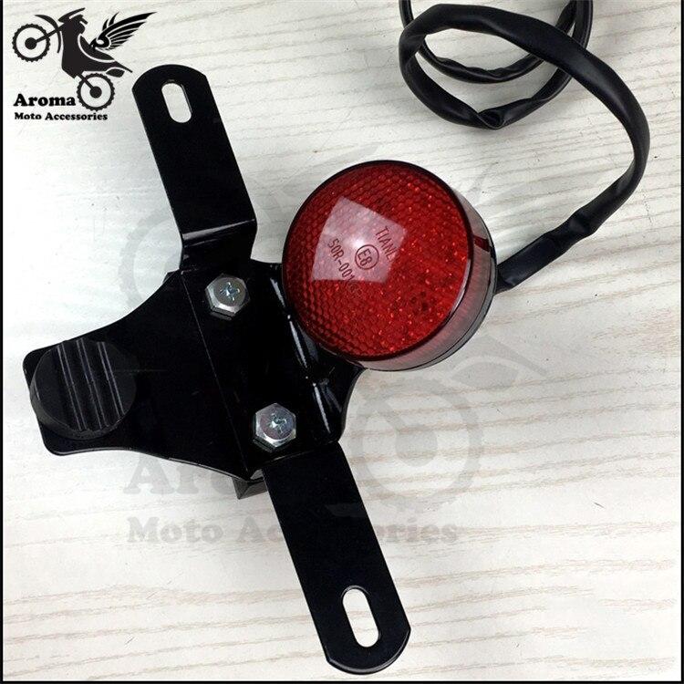 round moto brake indicator motorcycle tail light with license plate bracket for yamaha max250 LED motorbike warning signal light