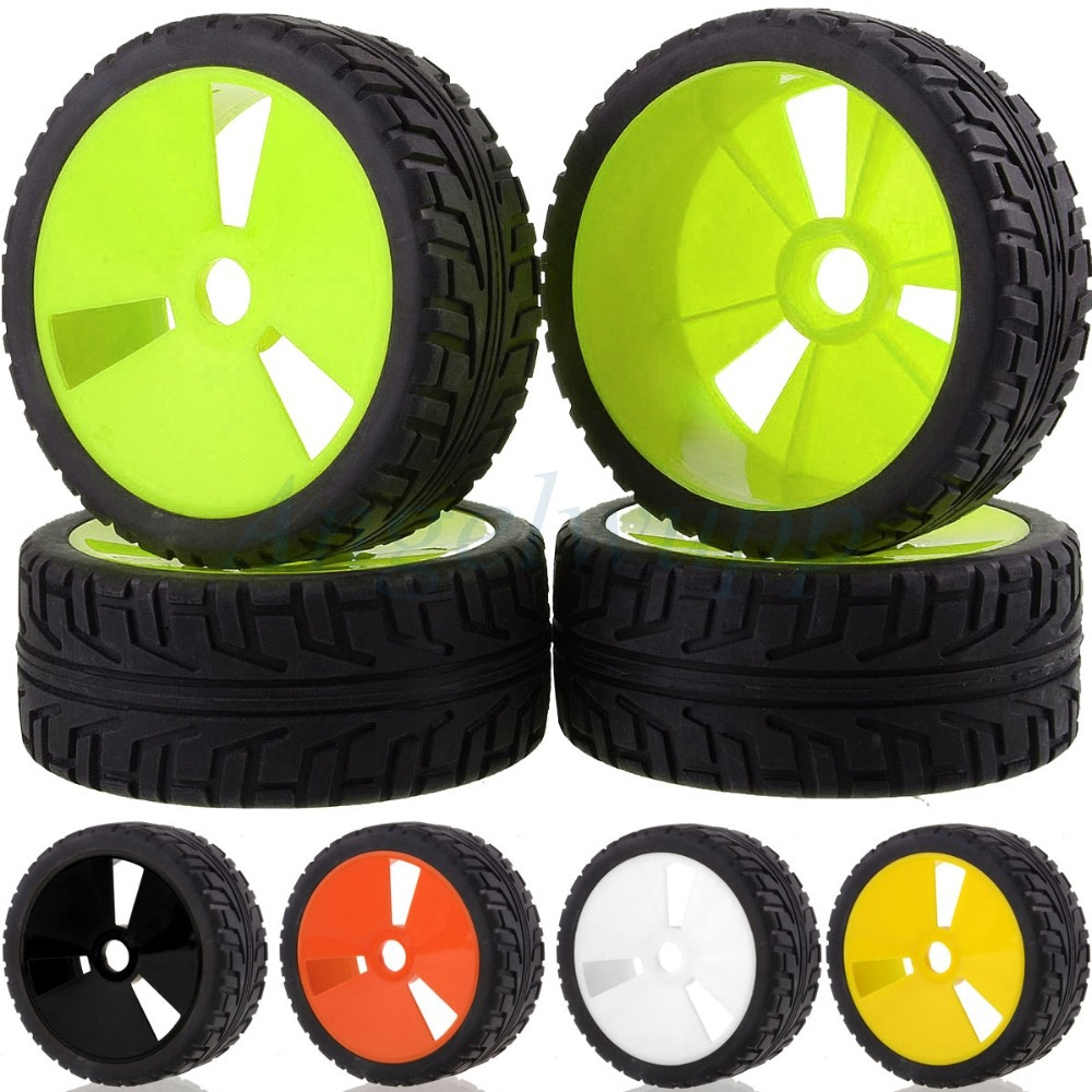 83-803 4PCS RC 1/8 Off-Road Car Buggy 17mm Hub Wheel Rim & Tires,Tyre For HSP plastic front rear wheel rim tire for rc car 1 10 buggy off road car hsp himoto hpi traxxas redcat 06008 06101 06024 06102