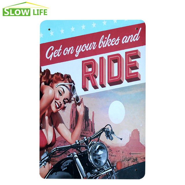 Last Stop Motorcycle Vintage Metal Plate Wall Decor Tin Sign Bar Pub Cafe Home