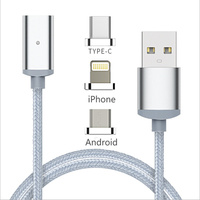 Nylon 3 in 1 Magnetic Micro USB Adapter For Lightning Sync Data Cable Fast Charging For Android iphone ipad ipod Type-C P0.11