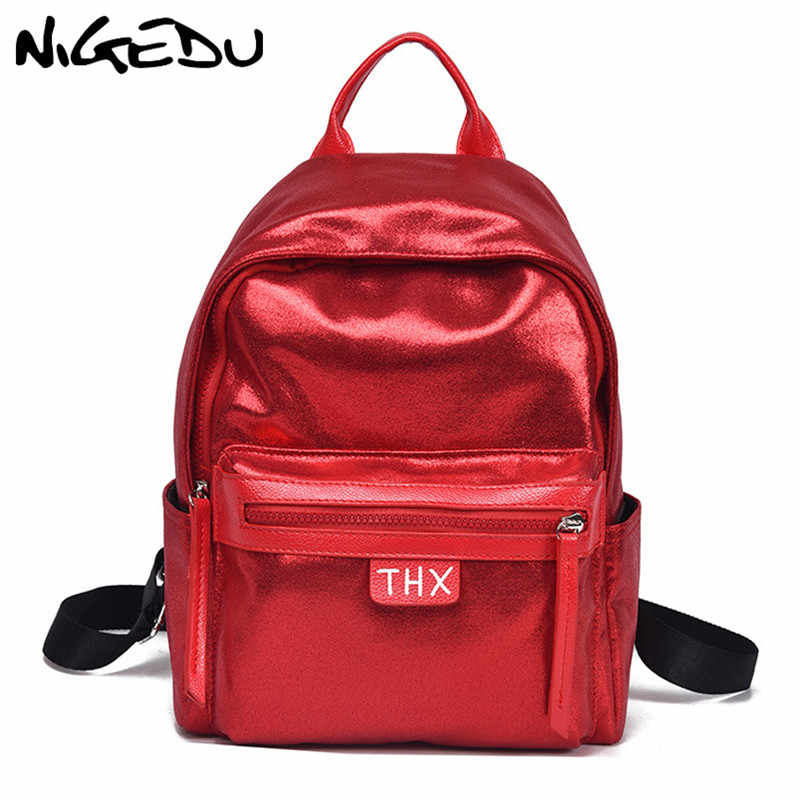 c9d4eb6a49 Fashion Glitter Women Backpack big capacity soft PU Leather Teenage Girls  School Bag Large Female backpacks