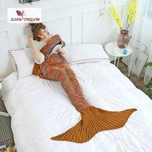 Slowdream Knitted Mermaid Tail Throw Blanket Handmade Soft Best Birthday Gift Colorful Decor Bedroom Sofa Adult Kid Child Blanke