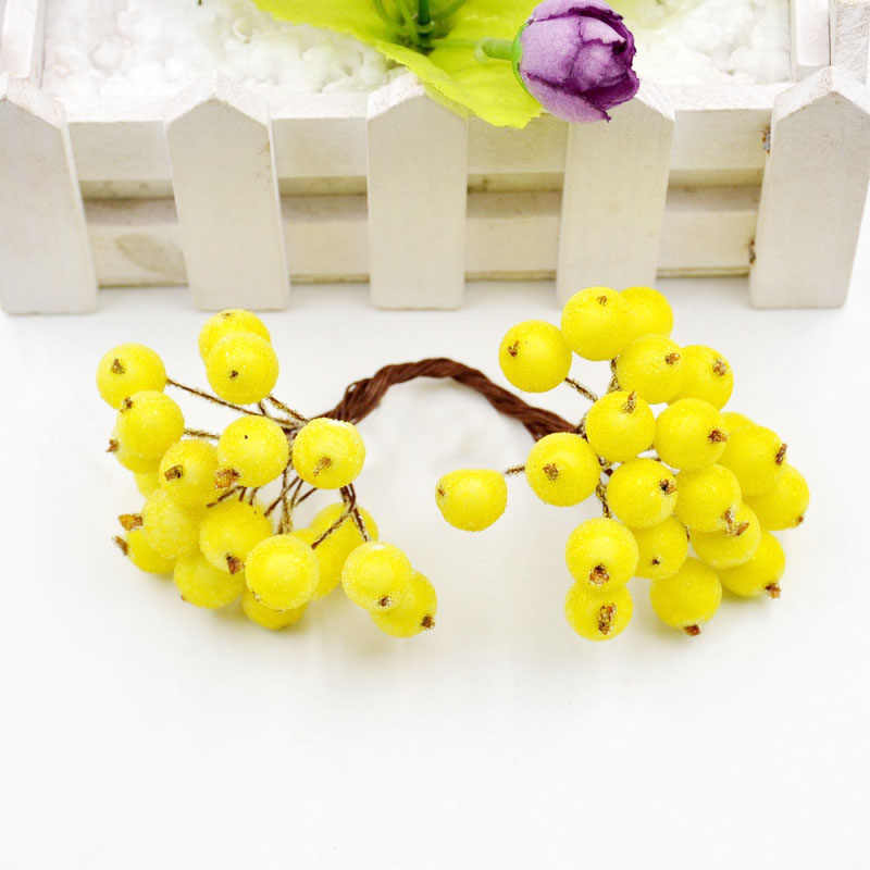 40 têtes fruits artificiels baies de verre étamines pas cher fausse fleur pour mariage décoration de la maison bricolage couronne Scrapbooking artisanat fleur