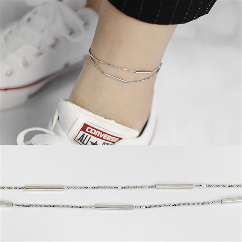 Anklets Oloey Double Layer Box Chain Anklets For Women Girls 100% Real 925 Sterling Silver Foot Bracelet Jewelry Drop Shipping Yma018 Jewelry & Accessories