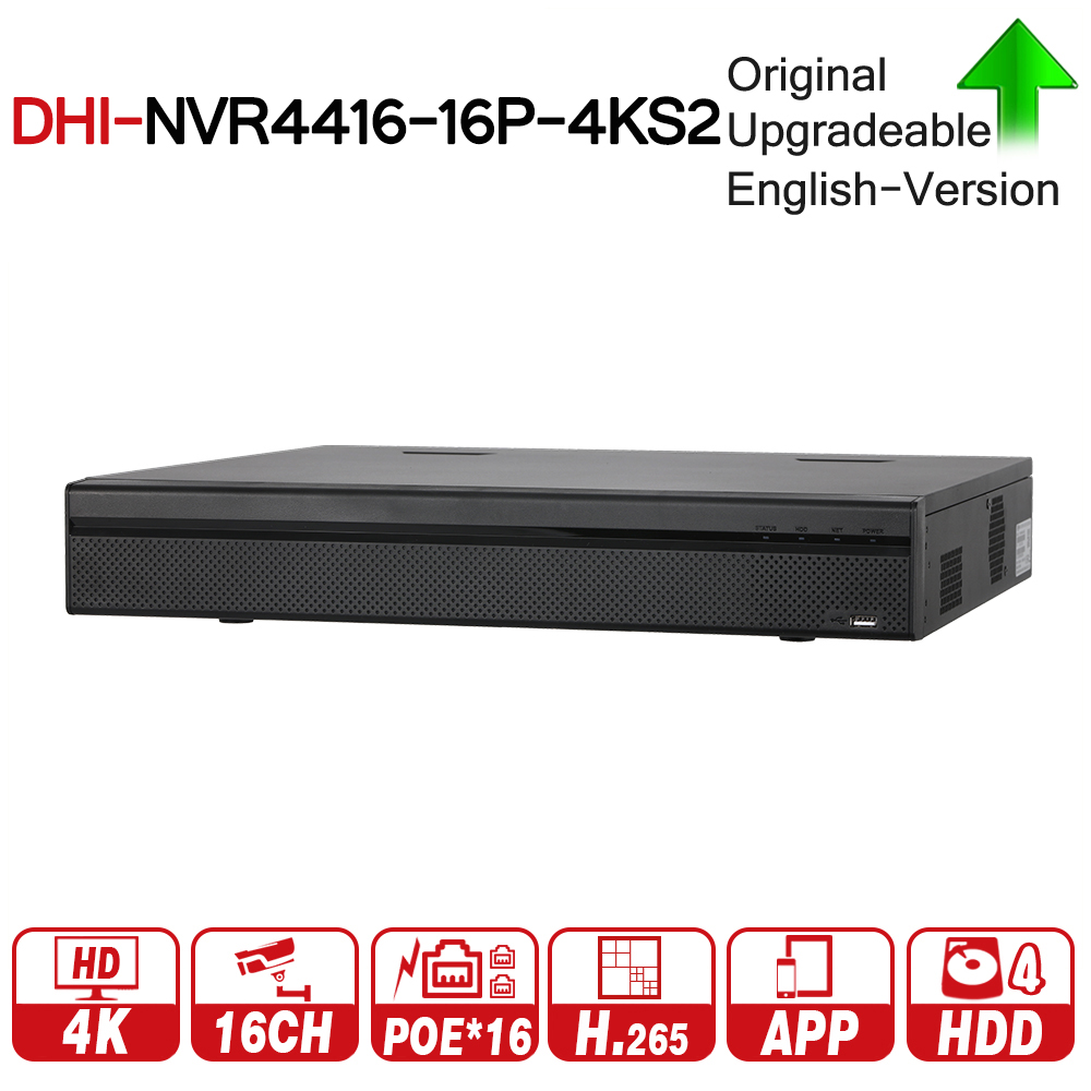 DH NVR4416-16P-4KS2 with logo original 16CH PoE Port Support Two Way PoE 1.5U H.265 NVR Talk Third Party Network Video Recorder цифровой видеорегистратор dahua 16 poe dh nvr4416 16p
