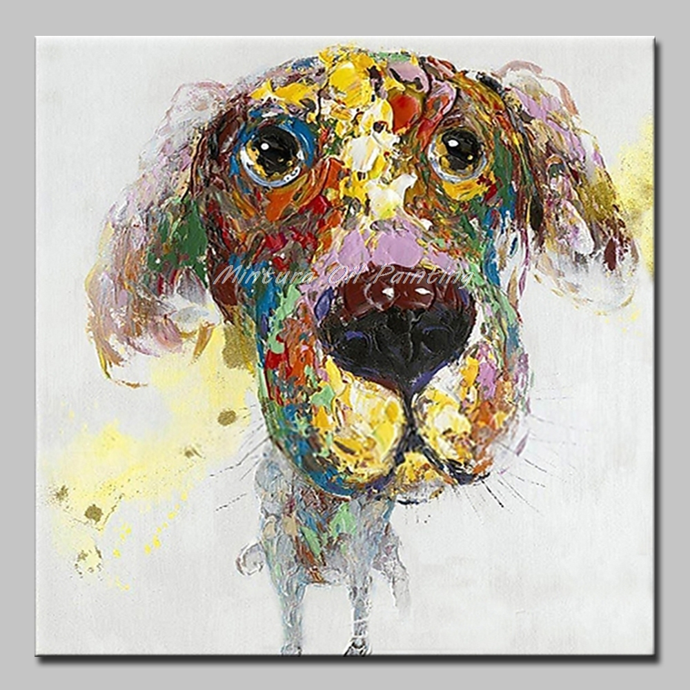 Mintura Hand Painted Dog Animals Oil Paintings on Canvas Modern Abstract Pop Art Wall Art Pictures For Living Room Home Decor
