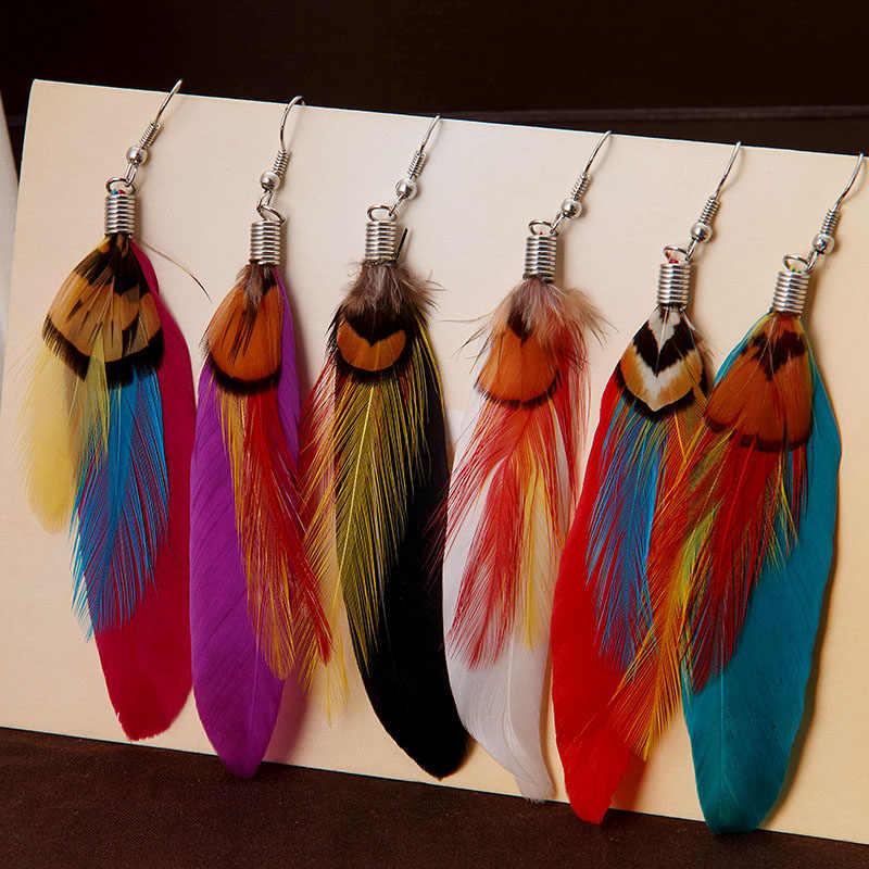 Pendientes de plumas bohemias Vintage, pendientes de múltiples colores, regalo para mujer, joyería de fiesta al por mayor