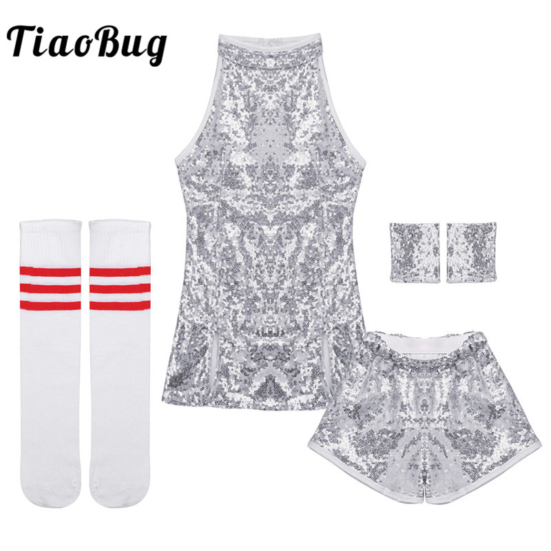 TiaoBug Child Girls Hip-hop Jazz Stage Dance Costume Street Dancing Shiny Sequins Tank Top With Shorts Socks Set Kids Dance Wear