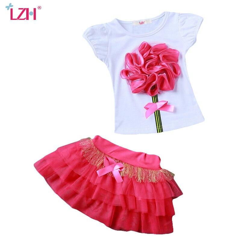 LZH Children Clothes 2017 Summer Kids Girls Clothes Set Flower T-Shirt+Skirt 2pcs Outfit Girl Sport Suit Children Girls Clothing