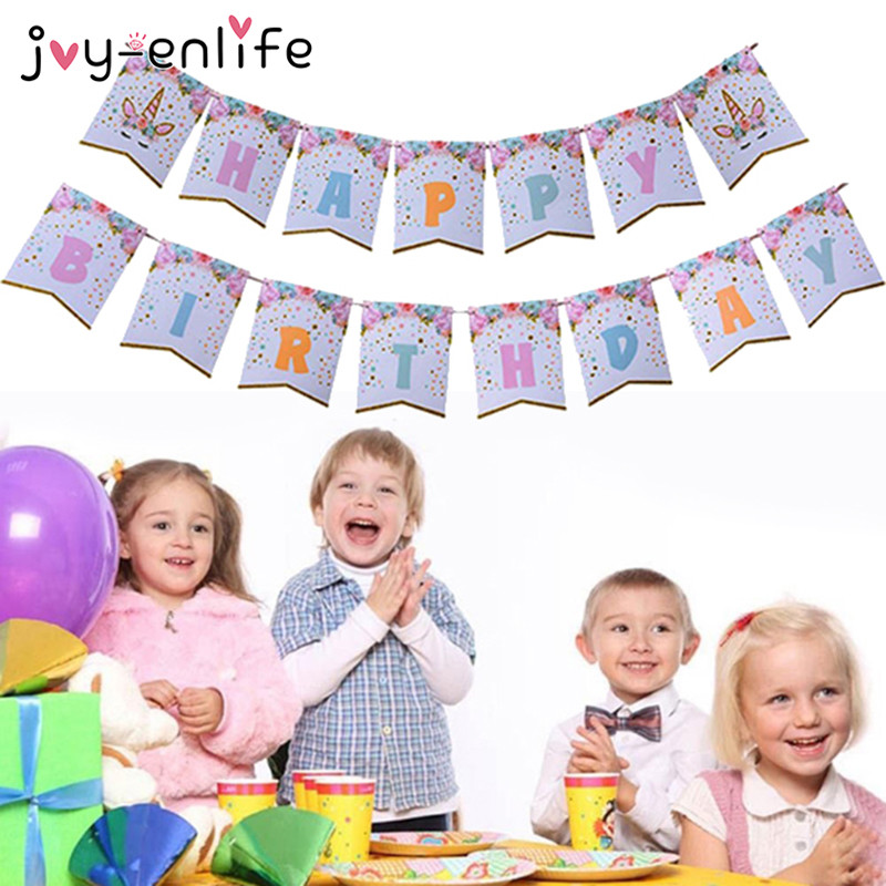 JOY-ENLIFE Glittering Unicorn Happy Birthday Banner Baby Shower Kids Party Decor Cartoon Banner Flags Unicorn Party Supplies