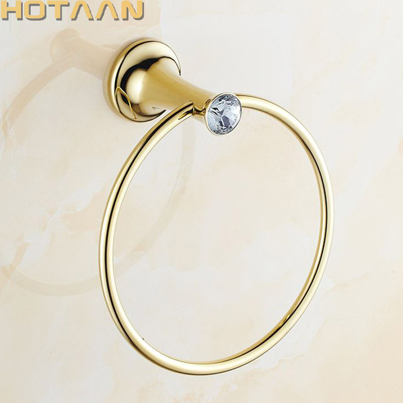 Towel Ring Golden Bathroom towel holder, Stainless steel Wall-Mounted Round  Towel Rings Crystal Towel Rack Bathroom AccessoriesTowel Ring Golden Bathroom towel holder, Stainless steel Wall-Mounted Round  Towel Rings Crystal Towel Rack Bathroom Accessories