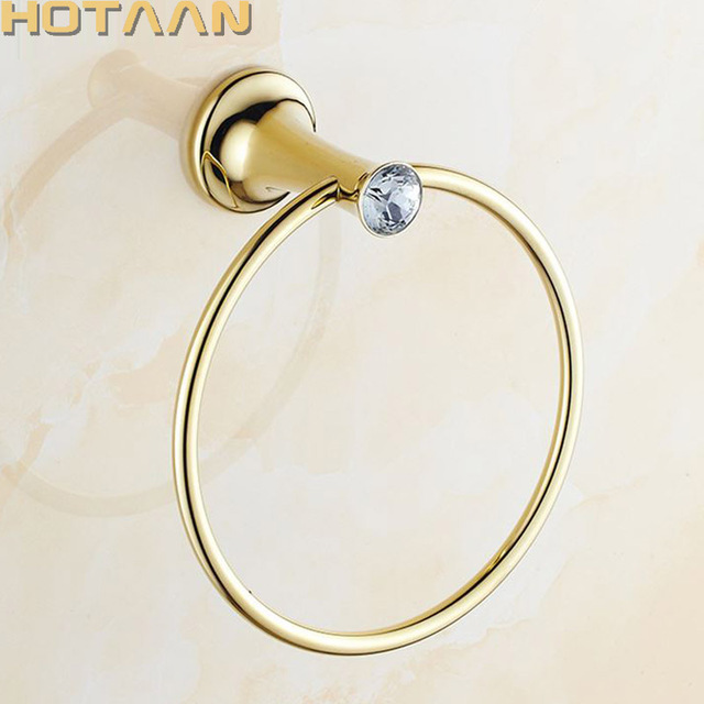 Swell Us 11 69 10 Off Aliexpress Com Buy Towel Ring Golden Bathroom Towel Holder Stainless Steel Wall Mounted Round Towel Rings Crystal Towel Rack Download Free Architecture Designs Scobabritishbridgeorg