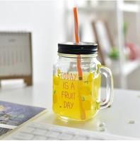 الإبداعي الزجاج الشفاف زجاجة الحليب الشاي الغلايات الديك و الجليد الحليب عصير الفاكهة الشاي المشروب البارد جميل سترو شحن مجاني
