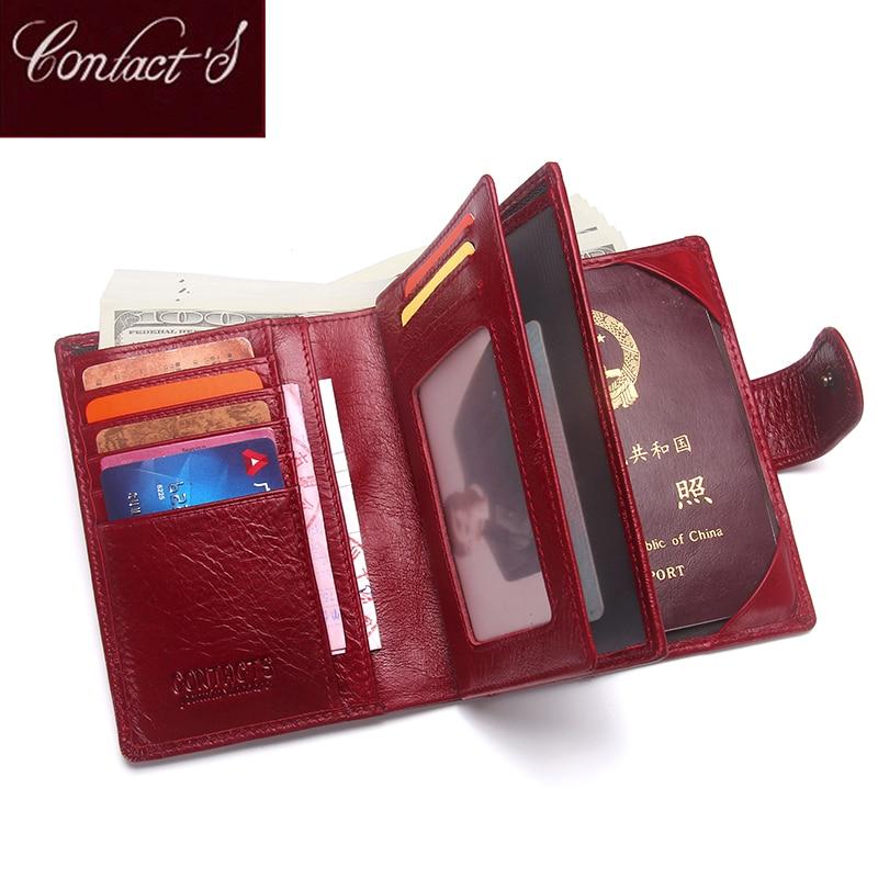 Luxury Brand Women Original Läder Passport Plånbok Resor Plånböcker Pengar Purse Med Pass Cover Och Licens Card Holder Cases