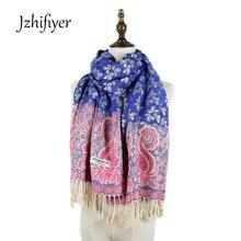 Newest Korea 50%cotton+50%polyester Ladies Floral Jacquard Long Pashminas Wraps Winter Bufandas Mujer 2016