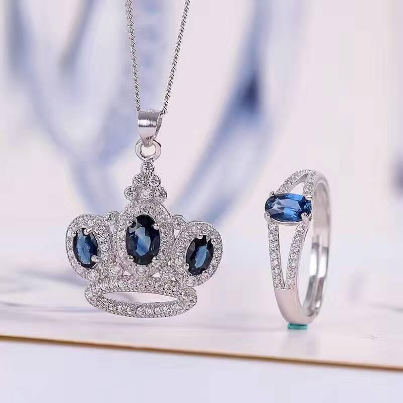 все цены на Vintage natural sapphire jewelry 4*6mm sapphire ring and sapphire pendant jewelry set solid 925 silver sapphire jewelry for lady онлайн