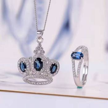 Vintage natural sapphire jewelry 4*6mm sapphire ring and sapphire pendant jewelry set solid 925 silver sapphire jewelry for lady фото