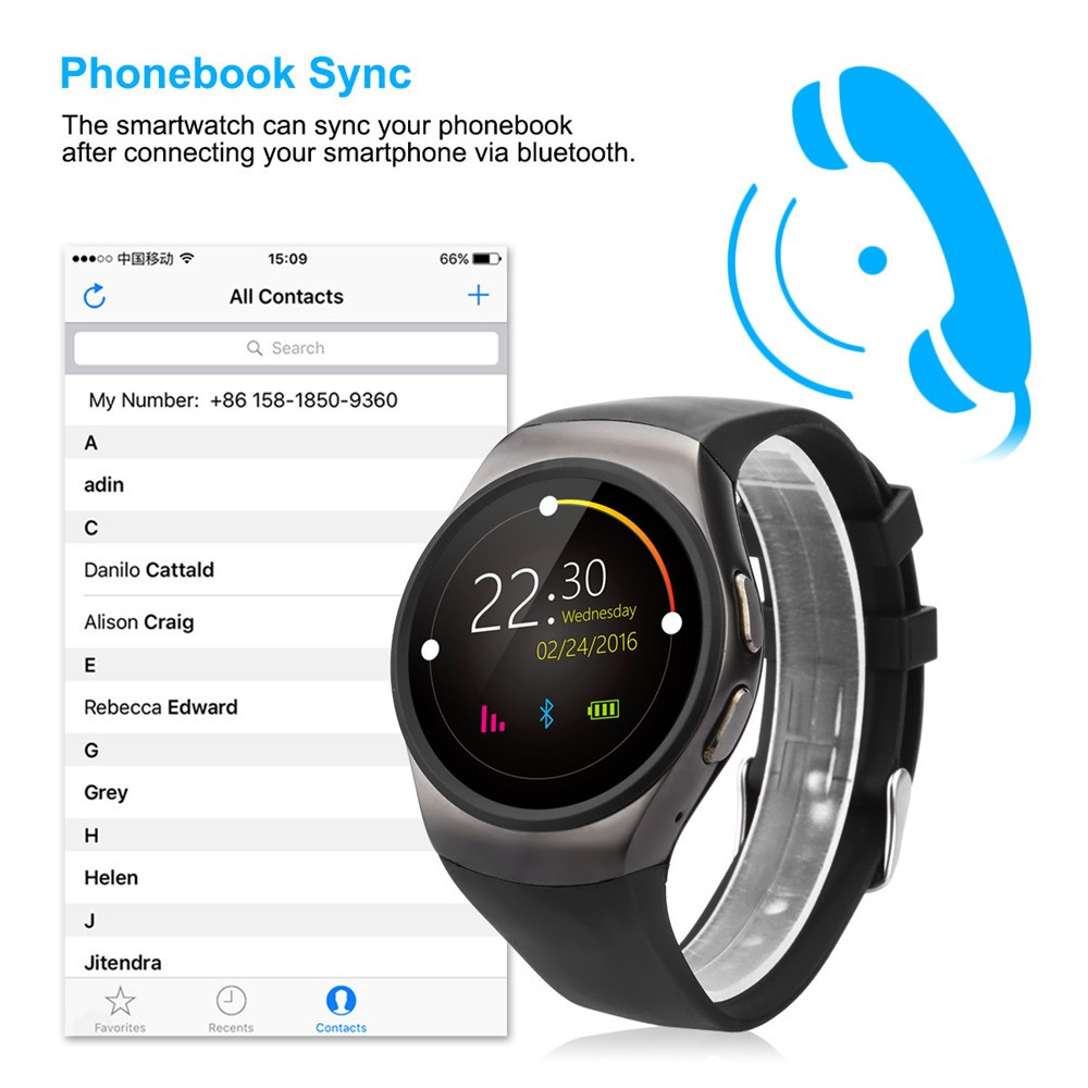 2016 New Product KW18 Smart Watch Android IOS Digital watch Bluetooth Reloj Inteligente SIM Round Heart Rate Monitor Watch Clock16