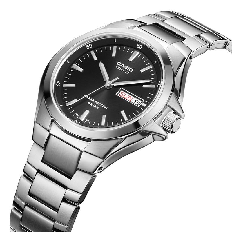 4dcd38fd461a Relojes Casio 50 metros a prueba de agua reloj de cuarzo para hombre placa  negra correa de acero MTP 1228D 1A reloj de pulsera hombre de negocios en  Relojes ...