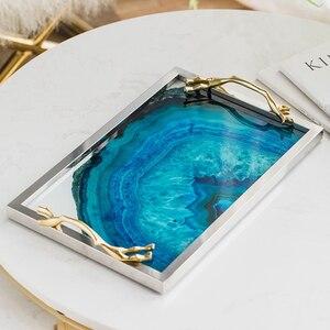 Image 5 - Moderne lumière luxe lac bleu Agate motif rectangulaire salon cuisine verre tasse plateau Table stockage plateau service plateau