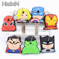 2017 New super hero Marvel Cartoon Key Cover batman Hulk Keychain Silicone iron man Holder porte clef Ring Superman cap chain