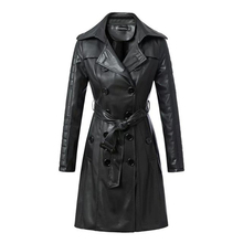 2017 New Fashion Autumn Winter Women Faux Soft Leather Jackets Pu Long Sleeve Trench Coat High Quality Ladies Buttons Hot