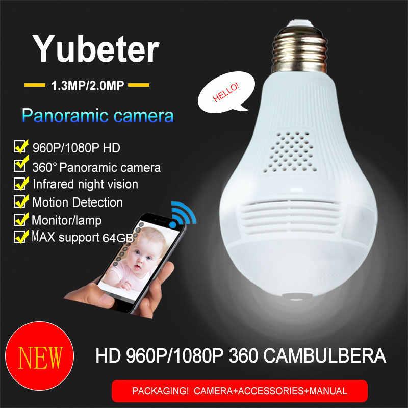 YuBeter 360 камеры WIFI лампа 960 P 1080 охранных товары теле и видеонаблюдения лампочки инфракрасный Камера ночное видение два способа аудио
