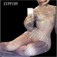 Fashion Sexy Sparkly Pearls Jumpsuits Rhinestones Stretch Bodysuit Party Celebrate luxurious Shining Costume Outfit Wear