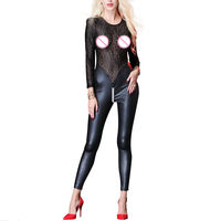 Sexy Sissy Womens Patchwork Lace Faux Leather Bodysuit Rompers Open Crotch Zipper Catsuit Leotard Jumpsuit Erotic Clubwear New