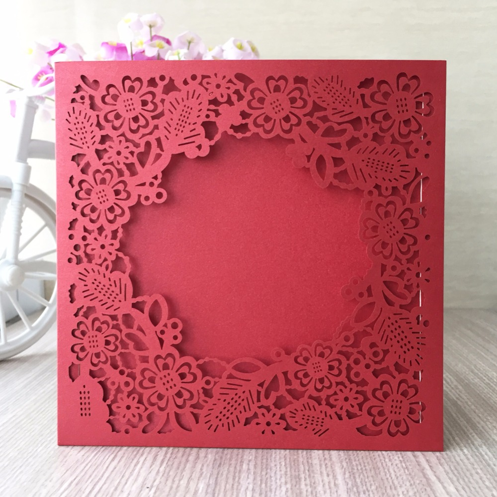 25pcs Laser Cut Wedding Invitations Cards Elegant Flowers Custom ...