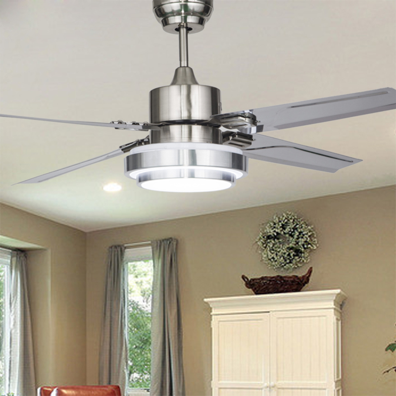 Online shop 48 inch stainless steel ceiling fan led lamp 4 leaves online shop 48 inch stainless steel ceiling fan led lamp 4 leaves modern ceiling fan with 18w led ceiling lamp aliexpress mobile aloadofball Choice Image