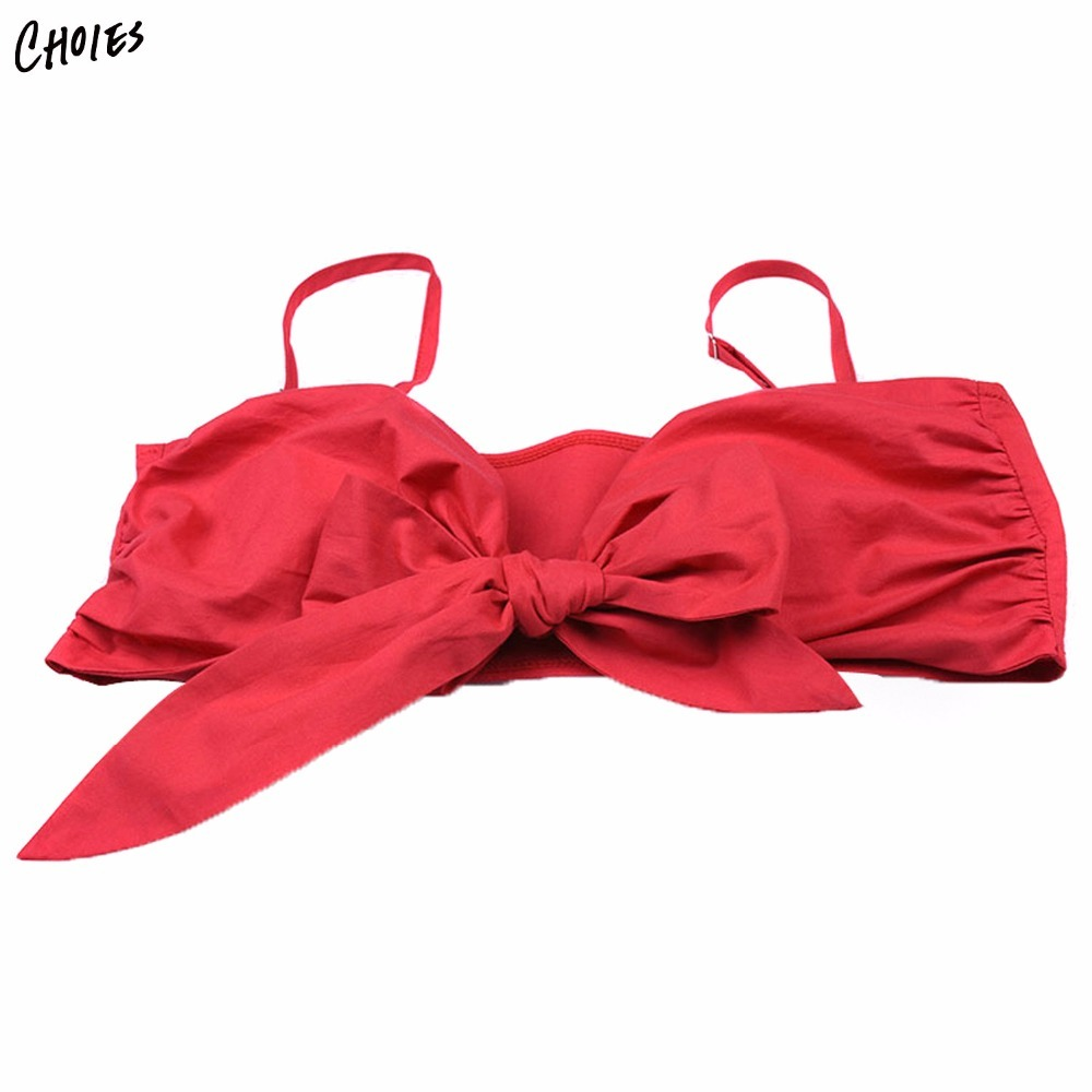 7487878523 Red Spaghetti Strap Bow Tie Front Bralette in Women s Bras Sexy High Street  Halter Bralette Top Brassiere Bralette Blouse Camis-in Camis from Women s  ...