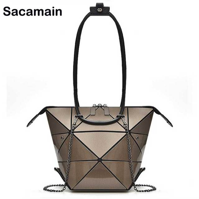 2018 Changeable Bag Women Handbags Famous Designer Casual Tote Handle Silver Handbag Geometric