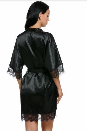 Sexy Brautjungfer Kurz Satin Braut Robe Spitze Kimono Frauen ...