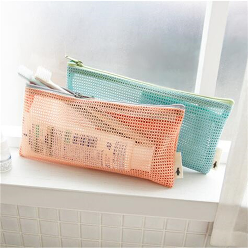 New Casual Travel Wash Cosmetic Bag Transparent Mesh Zipper Make Up Organizer Fashion Storage Bag 2 Colors