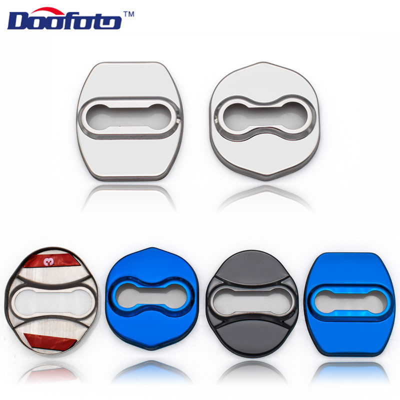Doofoto Car Styling Badge Stickers Auto Door Lock Cover Fit For Kia Rio K2 Soul For Hyundai Solaris Verna Ix35 I30 Sonata 8 4pcs